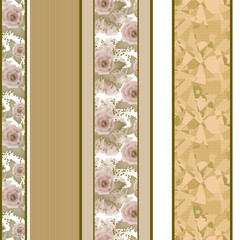 Retro colors floral roses vertical lines pattern texture backgro