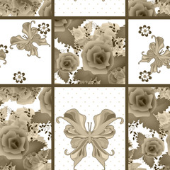 Seamless vintage rose butterfly pattern background