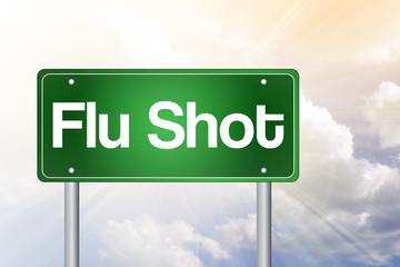 Flu Shot Green Road Sign concept