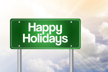 Happy Holidays Green Road Sign concept