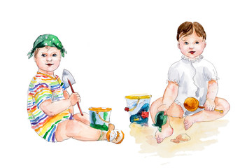 Two children play sand.