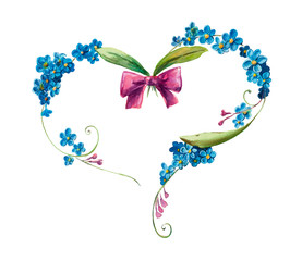 Heart frame from blue flowers. Forget me not