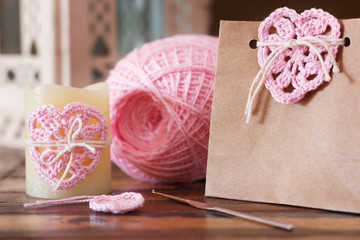 Saint Valentine decoration: handmade crochet pink heart for cand