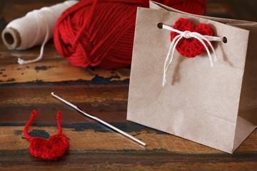 Saint Valentine decoration: handmade crochet pink heart for cand