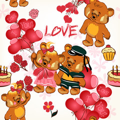 Childish seamless wallpaper pattern with red hearts and toy bear