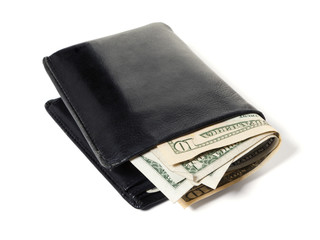 Dollar bills in black leather wallet