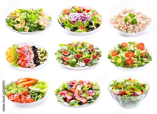 Leinwanddruck Bild set of various salads