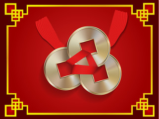 illustration: Feng Shui coins, happiness, love, luck, prosperity