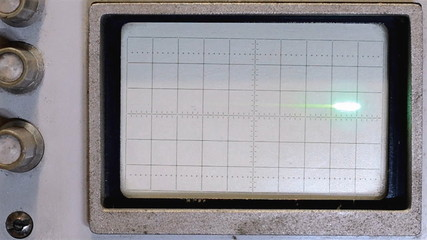 The pulses on the oscilloscope screen of the old