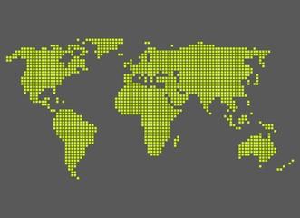 Weltkarte aus gelb-grünen Pixeln auf grauem Hintergrund