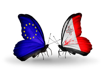 Two butterflies with flags EU and Malta