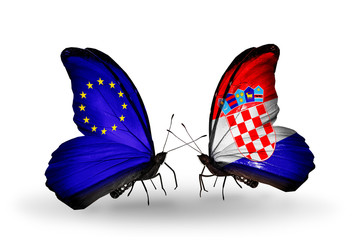 Two butterflies with flags EU and Croatia