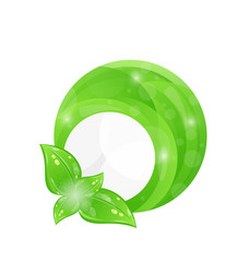 Green round frame with leaf elements, eco background