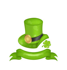 Green hat, clover, ribbon in saint Patrick Day - isolated on whi