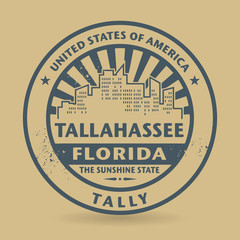 Grunge rubber stamp with name of Tallahassee, Florida