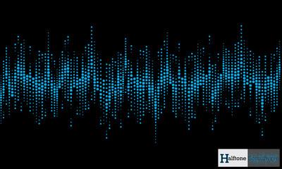 Halftone sound wave pattern modern music design element