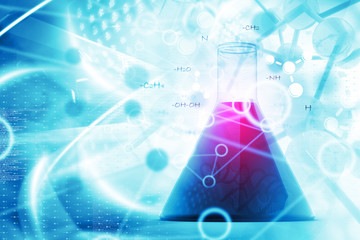 Scientific background with laboratory flask and molecules