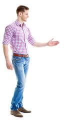 Begrüßung - Junger Mann reicht die Hand