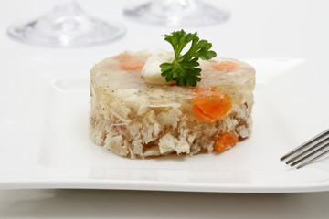 Aspic of chicken with carrots in form of heart