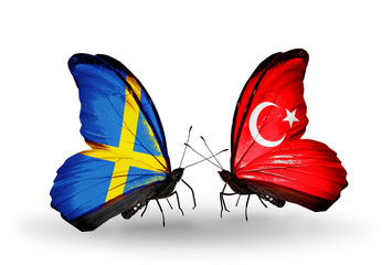 Two butterflies with flags Sweden and Turkey