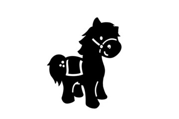 Silhouette black cartoon horse