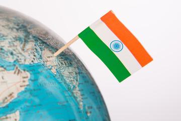 flag India on globe