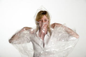 Woman wearing a poncho protection from rain