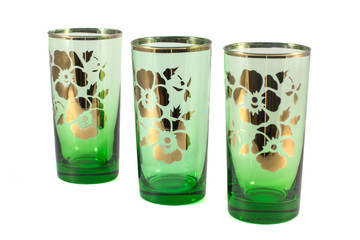 Three glass glasses on a white background