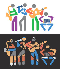 Music groups colorful cartoons