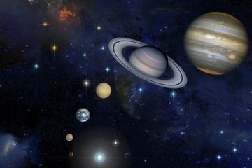 Solar system in stars background