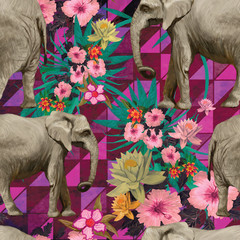 Samless pattern with indian elephants. Hand drawn vector.
