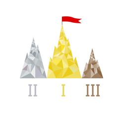 Podium in the form of mountain peaks, triangular design