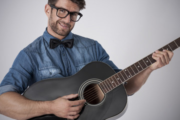 Playing on guitar is symbol of romantic man