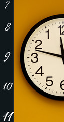 Wall clock. Only a half with the order of the numbers inverted