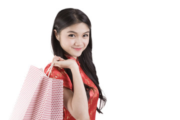 Beautiful Asia girl happy smile and shopping