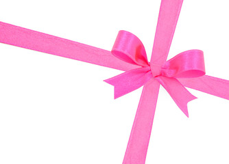 Pink satin gift bow ribbon