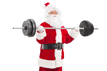 Santa exercising with a heavy barbell