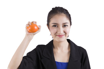 businesswoman squeezing a stress ball