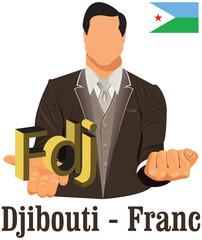 Djibouti national currency Djiboutian franc symbol representing