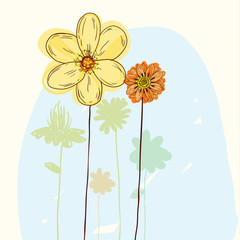 Sketching floral, vector background.