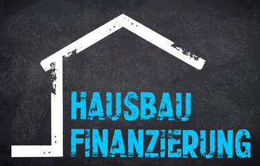 Kreidetafel mit Hausbaufinanzierung