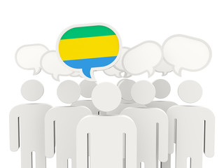 People with flag of gabon