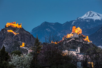 Switzerland, Valais, Sion, Night Shot of the  two Castles