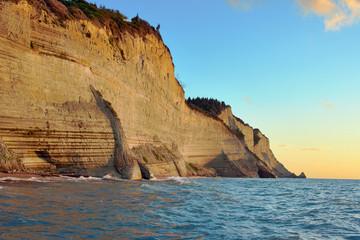 rock on coast at Corfu island, Greece.