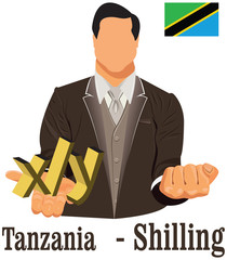 Tanzania currency symbol shilling representing money and Flag.