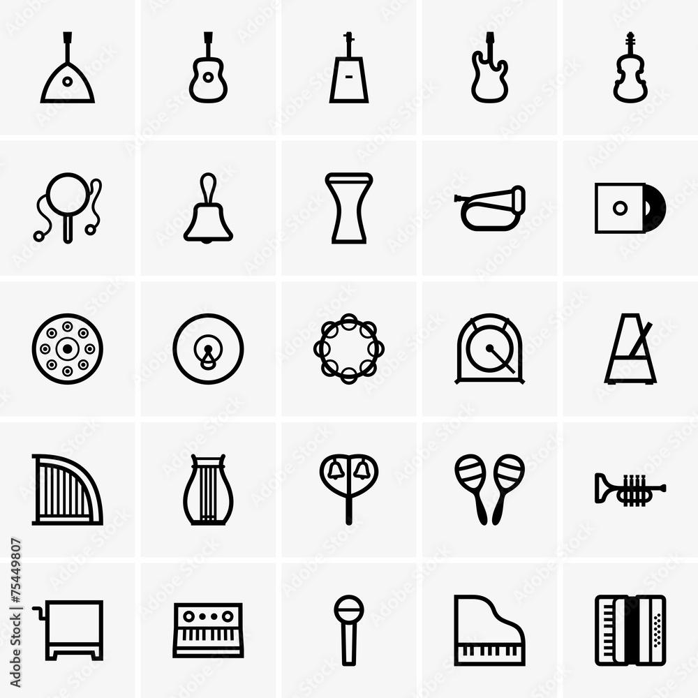 Plakat Instrumenty Muzyczne Ikony Wally24pl