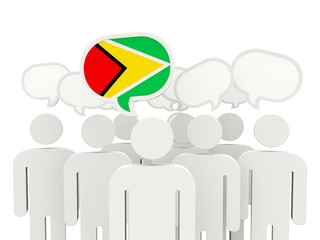 People with flag of guyana