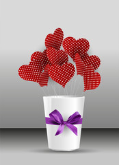 polka dots and ribbon-hearted bars in the cup