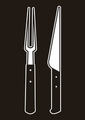 Knife and Fork, black background