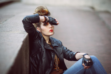 the girl punk with bright red lips